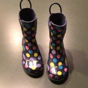 TOMS polka dot rain boots